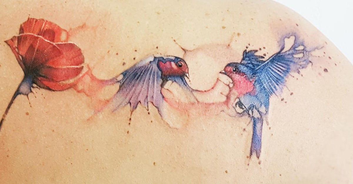 Tattoo oiseaux aquarelle